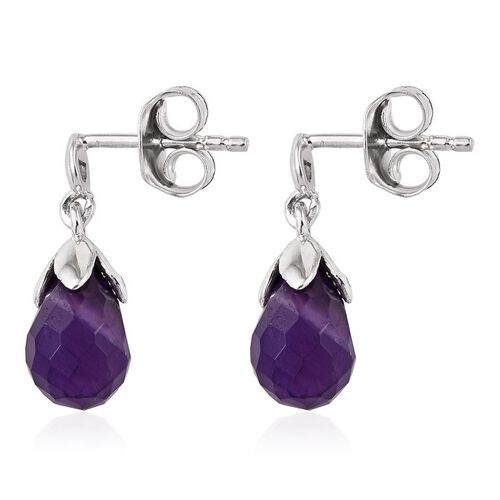 Amethyst Earrings (with Push Back) in Platinum Overlay Sterling Silver 4.250  Ct.