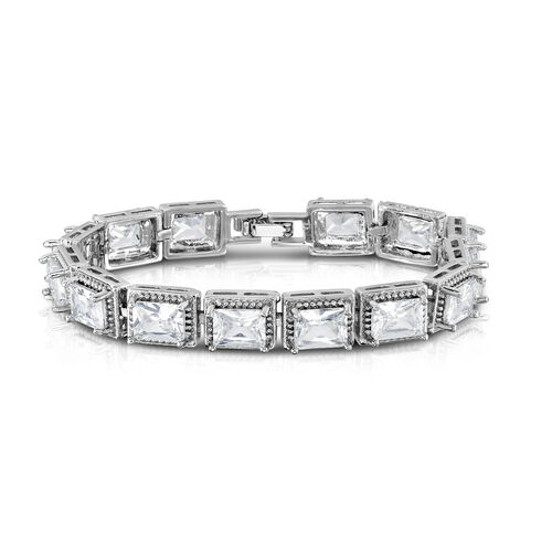 Designer Inspired- Diamond Colour (Oct) Bracelet (Size 7) in Silver Bond