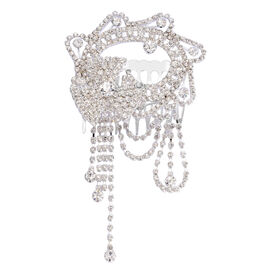 (Option 1) Simulated White Diamond and White Austrian Crystal Hair Comb in Silver Tone
