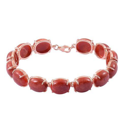 Red Jade (Ovl) Bracelet (Size 7.5) in Rose Gold Overlay Sterling Silver 71.000 Ct.