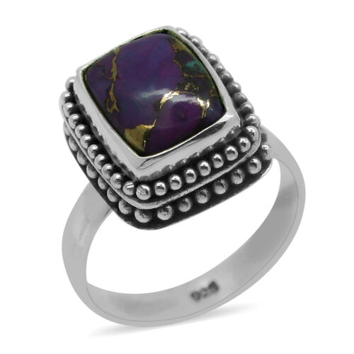 Royal Bali Collection Mojave Purple Turquoise (Cush) Solitaire Ring in Sterling Silver 2.920 Ct.