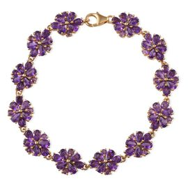Zambian Amethyst (Pear) Floral Bracelet in 14K Gold Overlay Sterling Silver (Size 7.5) 14.000 Ct.