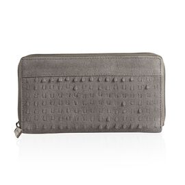 Genuine Leather Grey Colour Cut Work Wallet