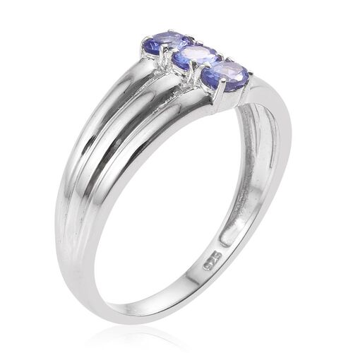 Tanzanite (Ovl) Trilogy Ring in Platinum Overlay Sterling Silver 0.500 Ct.