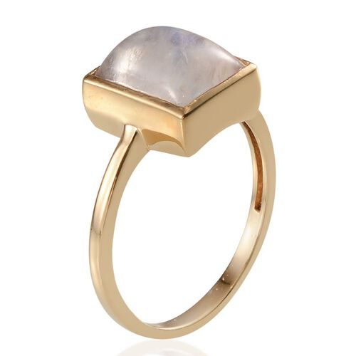 Rainbow Moonstone (Bgt 4.00 Ct) Solitaire Ring in 14K Gold Overlay Sterling Silver 4.000 Ct.