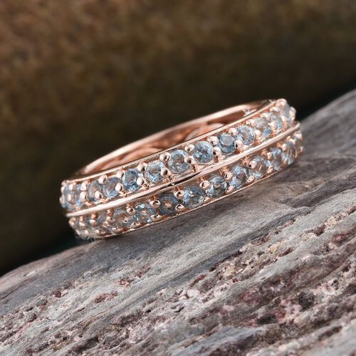 Two Row Aquamarine 1.90 Ct Silver Full Eternity Stacker Ring in Rose Gold Overlay