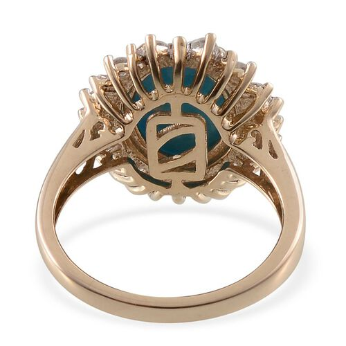 9K Y Gold Arizona Sleeping Beauty Turquoise (Ovl 2.90 Ct), Diamond Ring 3.560 Ct.