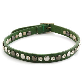 Green Leather, White Austrian Crystal Studded Reversible Wrap Bracelet in Silvertone ( (Size 8)