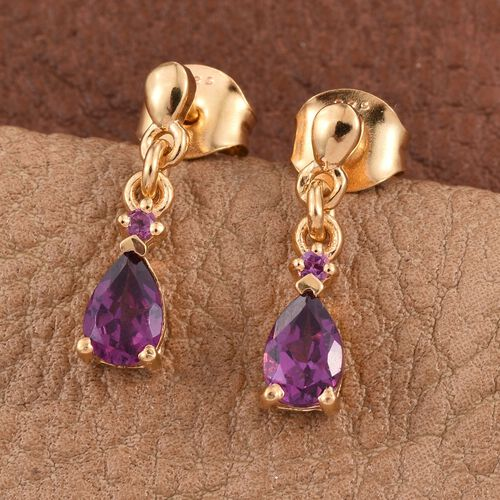 Rare Mozambique Grape Colour Garnet (Pear) Earrings (with Push Back) in 14K Gold Overlay Sterling Silver 1.000 Ct.