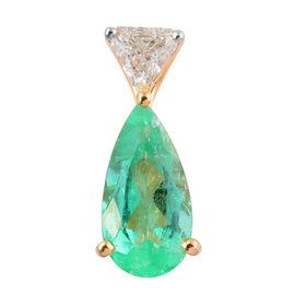 ILIANA 18K Y Gold AAAA Boyaca Colombian Emerald (Pear 1.75 Ct), Diamond (SI/G-H) Pendant 1.900 Ct.