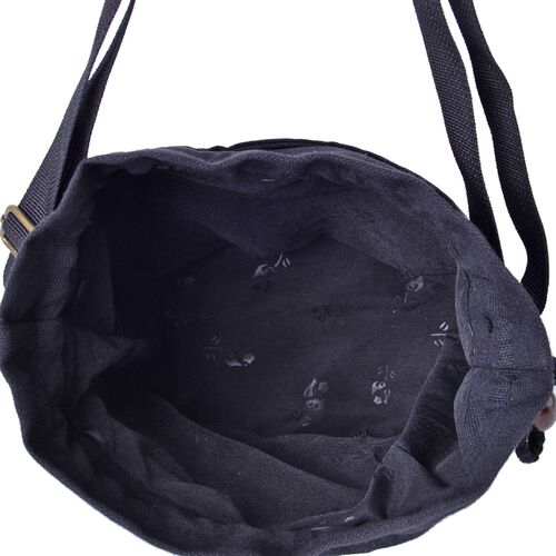 Shanghai Collection Blue and White Colour Floral Pattern Black Colour Crossbody Bag with Adjustable Shoulder Strap (Size 19.5x16.5x13 Cm)