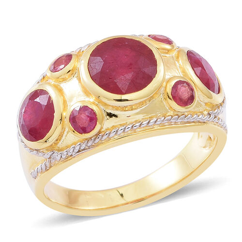 African Ruby (Rnd 2.50 Ct) Ring in 14K Gold Overlay Sterling Silver 5.700 Ct.