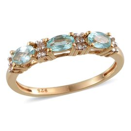 Paraibe Apatite (Ovl), White Topaz Ring in 14K Gold Overlay Sterling Silver 1.750 Ct.