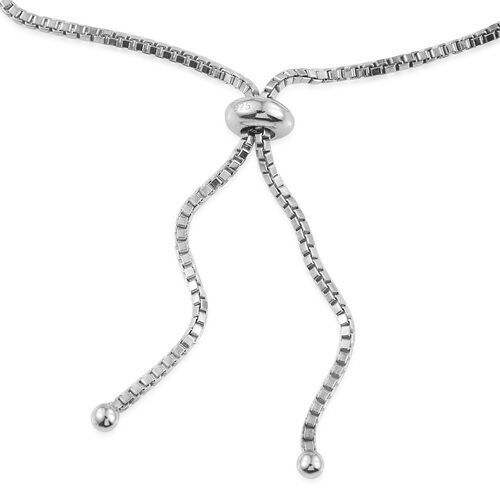 Designer Inspired Diamond (Rnd) Adjustable Bracelet (Size 6.50 to 9.5) in Platinum Overlay Sterling Silver 0.250 Ct.