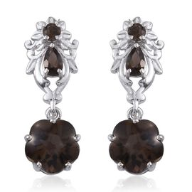 Brazilian Smoky Quartz Earrings (with Push Back) in Platinum Overlay Sterling Silver 5.250 Ct.