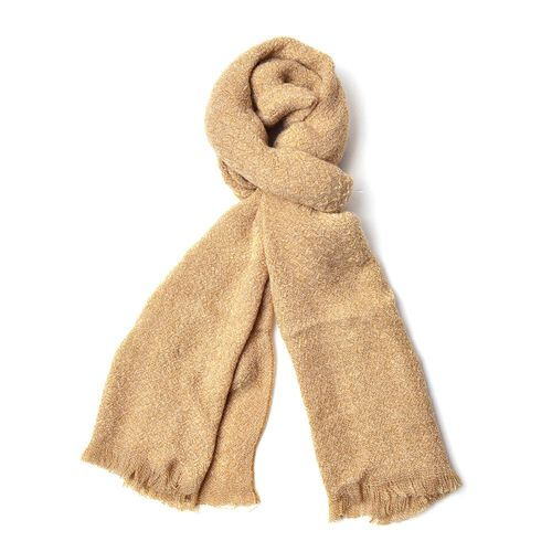 Beige Colour Knitted Scarf with Fringes (Size 190X55 Cm)
