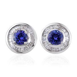 ILIANA 18K W Gold AAA Tanzanite (Rnd), Diamond Stud Earrings (with Screw Back) 1.750 Ct.