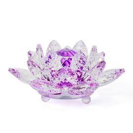 Hand Crafted AAA Purple Austrian Crystal and Faceted Glass Lotus With a Gift Box