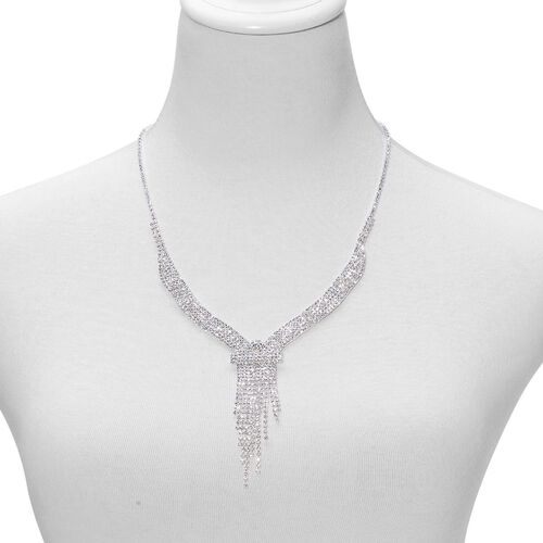 Diamante Effect White Austrian Crystal Necklace (Size 20) and Earrings in Silver Tone