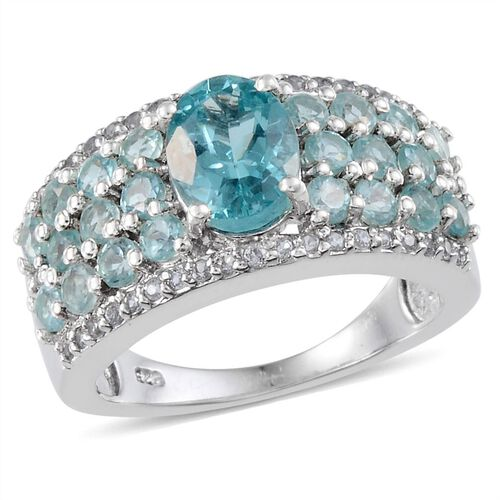 AA Paraibe Apatite (Ovl 1.00 Ct), White Topaz Ring in Platinum Overlay Sterling Silver 2.650 Ct.