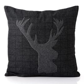 55% Wool Grey Colour Reindeer Pattern Black Colour Cushion (Size 43x43 Cm)