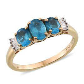 Malgache Neon Apatite (Ovl), Diamond Ring in 14K Gold Overlay Sterling Silver 1.050 Ct.