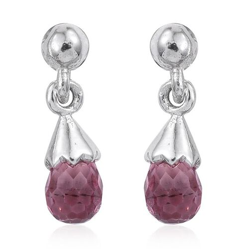 Pink Tourmaline Earrings (with Push Back) in Platinum Overlay Sterling Silver 1.500 Ct.
