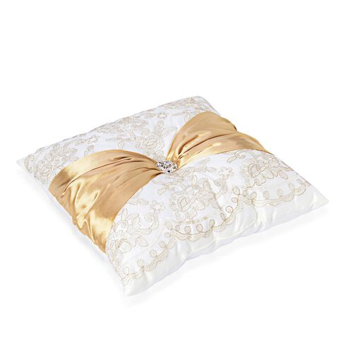 Golden Flowers Embroidered White Colour Cushion with Golden Colour Christmas Bowknot and Synthetic White Crystal (Size 40x40 Cm)