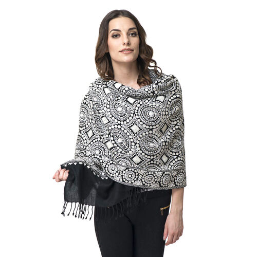 100% Wool Embroidered Black and White Colour Shawl with Sequins (Size 195x70 Cm)