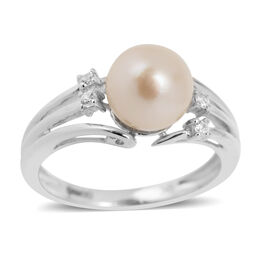 9K W Gold Japanese Akoya Pearl (Rnd 2.65 Ct), White Zircon Ring 2.750 Ct.