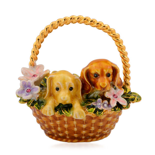 Home Decor - Golden Colour Enameled Purple and Pink Flower, 2 Dogs in the Basket in Gold Tone with Multi Colour Austrian Crystal