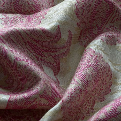 Pink Colour Jacquard Print White Shawl (Size 200x70 Cm)