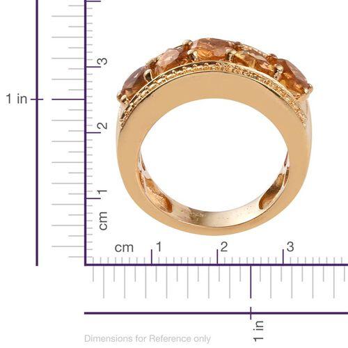 Citrine (Hrt), Yellow Diamond Ring in ION Plated 18K Yellow Gold Bond 2.010 Ct.