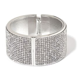AAA White Austrian Crystal Bangle (Size 7.5) in Silver Tone
