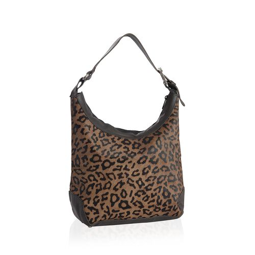 Genuine Leather Leopard Pattern Chocolate Colour Handbag with External Zipper Pocket and Adjustable Shoulder Strap (Size 32x24x11 Cm)