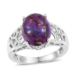 Mojave Purple Turquoise (Ovl) Solitaire Ring in Platinum Overlay Sterling Silver 5.000 Ct.