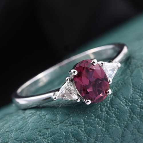 ILIANA 18K White Gold 1 Carat Rare Rubelite Oval, Diamond SI G-H Ring.