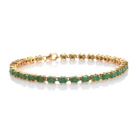 Brazilian Emerald (Ovl) Tennis Bracelet (Size 7.75) in 14K Gold Overlay Sterling Silver 7.500 Ct.