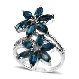 London Blue Topaz (Mrq), White Topaz Twin Floral Crossover Ring in Rhodium Plated Sterling Silver 3.640 Ct.