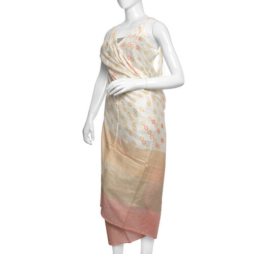 Orange, Red and White Colour Floral Pattern Sarong (Free Size)