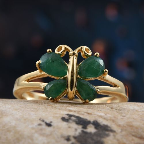 Kagem Zambian Emerald (Pear) Butterfly Ring in 14K Gold Overlay Sterling Silver 1.000 Ct.