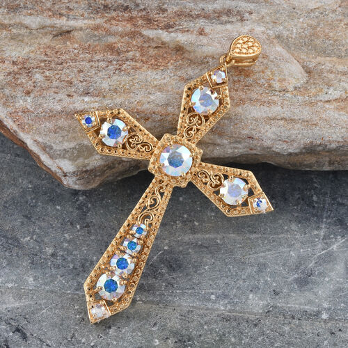 Crystal from Swarovski - AB Crystal (Rnd) Cross Pendant in ION Plated 18K Yellow Gold Bond