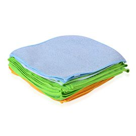 Set of 25 - Cleaning Towels 21 Microfiber 11 Green and 10 Orange, 2 Blue Colour Microfiber with Silver Scratch On The Back and 2 Lint Free Glass Towel (1 Blue and 1 Green)