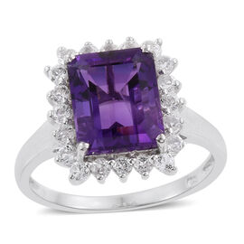 Amethyst (Oct 4.30 Ct), White Topaz Ring in Platinum Overlay Sterling Silver 5.250 Ct.