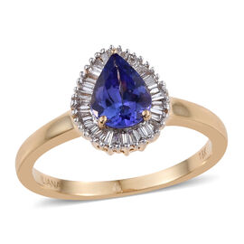 ILIANA 18K Y Gold AAA Tanzanite (Pear 1.00 Ct), Diamond (SI/G-H) Ring 1.250 Ct.