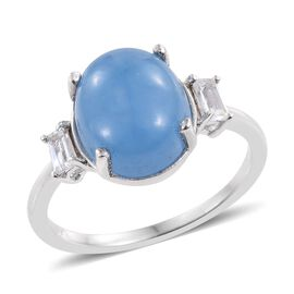Blue Jade (Ovl 5.50 Ct), White Topaz Ring in Platinum Overlay Sterling Silver 5.750 Ct.