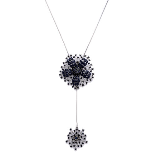 Blue Austrian Crystal Floral Pendant With Chain in Black Tone with Blue Resin