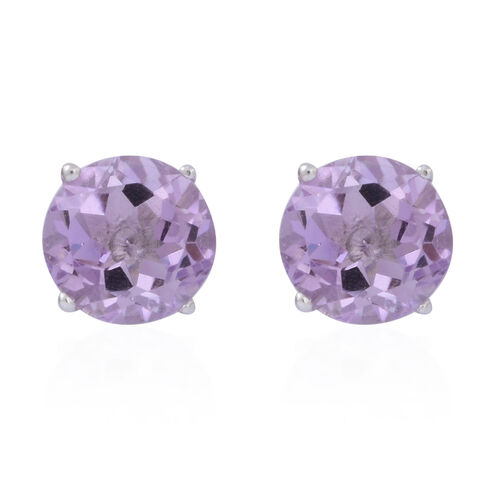 Rose De France Amethyst (Rnd) Stud Earrings (with Push Back) in Rhodium Plated Sterling Silver 5.000 Ct.
