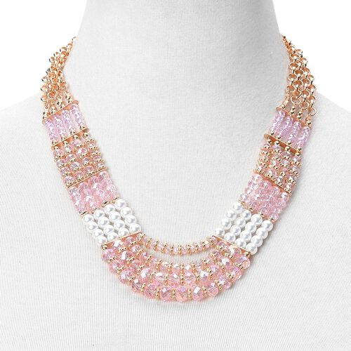 Simulated Pearl and Pink Colour Seed Beads Necklace (Size 23 with Extender) in Yellow Gold Tone