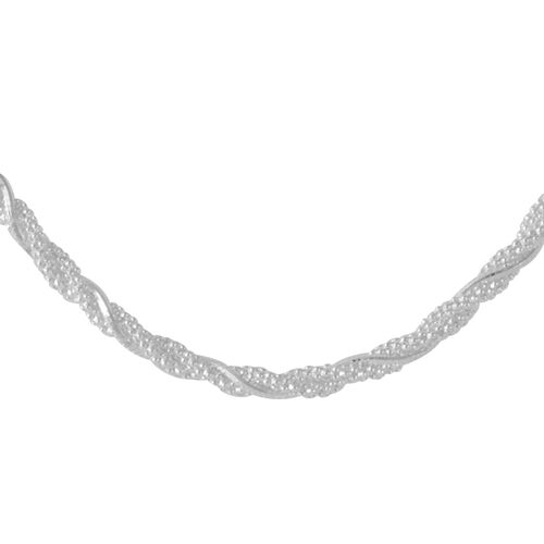 Vicenza Collection Sterling Silver Twined Necklace (Size 18), Silver wt. 10.19 Gms.